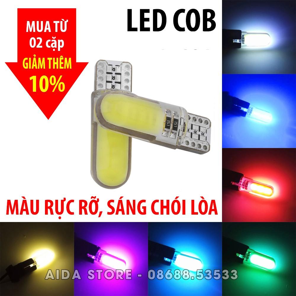 Cặp (02 bóng) đèn LED demi, xi nhan chân T10 8-12 chip COB