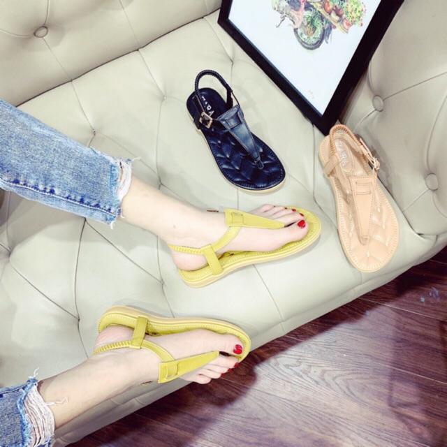 Sandal kẹp tam giác đế thêu siêu êm