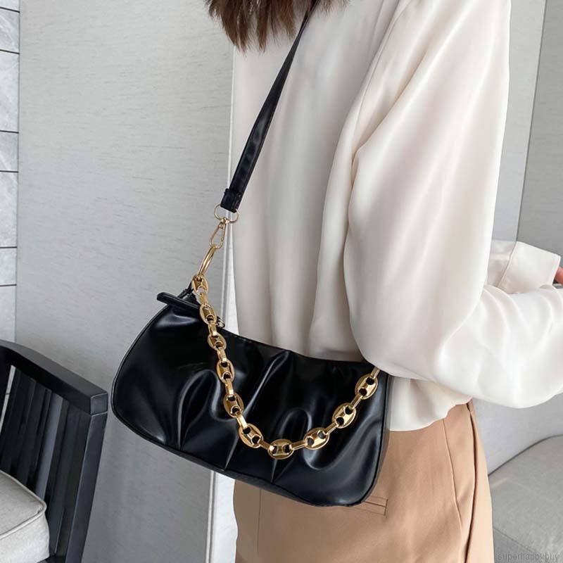 Túi xách da PU thiết kế xếp ly kiểu dáng dễ thương cho nữ