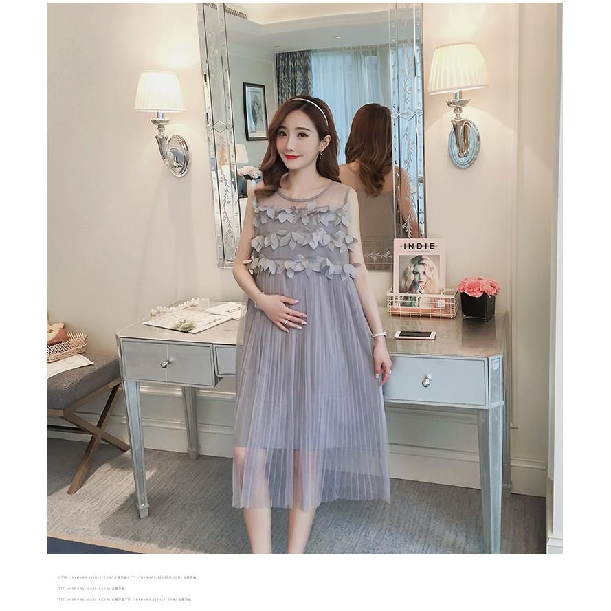 Đầm bầu , váy bầu phối ren không tay hiện đại thích hợp cho dạo phố mặc nhà