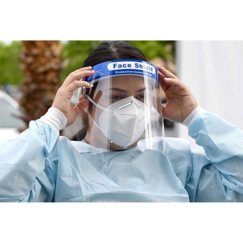 tấm che mặt phòng dịch, kính chống giọt bắn y tế faceshield.Giá xưởng