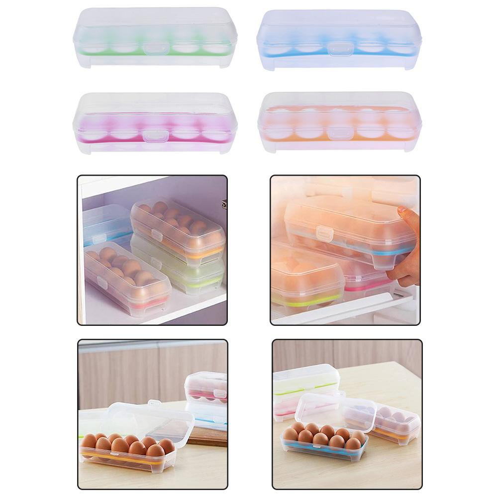 Egg Storage Box Refrigerator Container Ready Stock JK Home&Living 10 Grids Anti-Collision Egg Tray