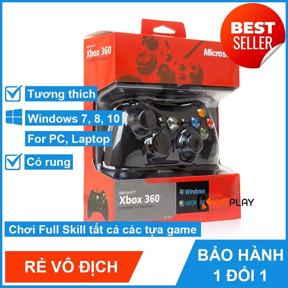 Tay cầm Chơi Game Microsoft Xbox 360 Full box Có Rung - Tay Cầm Có Dây Dùng Cho PC, Laptop chơi full skill FO4