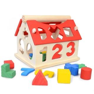 Đồ chơi Ngôi nhà thả hình khối và số học bằng gỗ