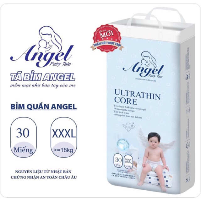 Bỉm Dán/Quần ANGEL bình dân Ultra Absorbent đủ size NB62/S58/M54/L50/XL46/M38/L36/XL34/XXL32/XXXL30