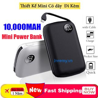 Mini Power Bank 10000mah Thin Digital Display 2.1A Fast Charging 2 In1 Built-in Line Portable Charger Powerbank