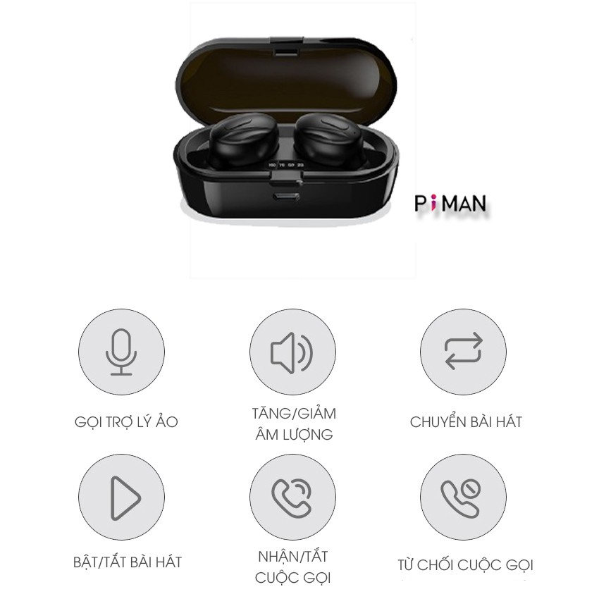 Tai nghe bluetooth 5.0 không dây nhét tai mini thể thao gaming pin trâu đèn LED hiển thị phần trăm pin Piman P14