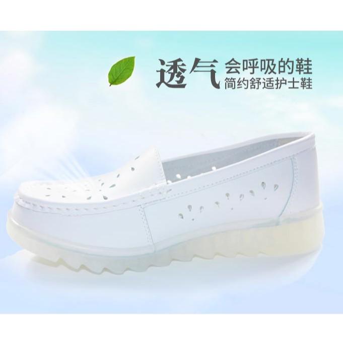 Giày trắng đơn giản - giày  nữ y tá - giày búp bê- giày đế bằng - giày y tá trắng- giày nữ đi trong bệnh viện- giày lười