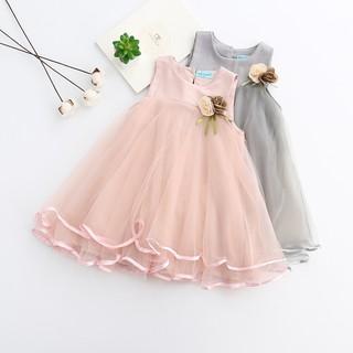 Đầm công chúa khuyên tai phối bông hoa vải xinh xắn đáng yêu cho bé gái