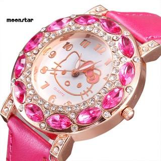 Đồng hồ dây giả da đính đá hình Hello Kitty cho bé gái thumbnail