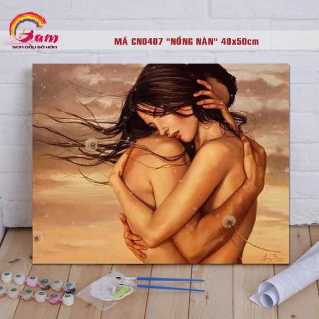 Tranh sơn dầu tự tô số hoá về tình yêu - Mã CN0407 Nồng nàn - 40x50cm (Khung)