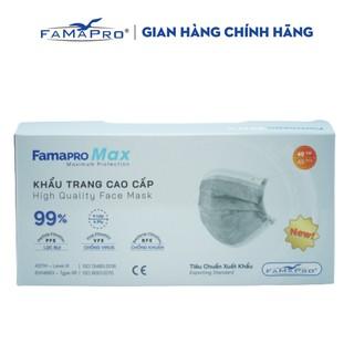 Khẩu trang y tế cao cấp kháng khuẩn 4 lớp Famapro max màu xám (40 cái hộp ) thumbnail