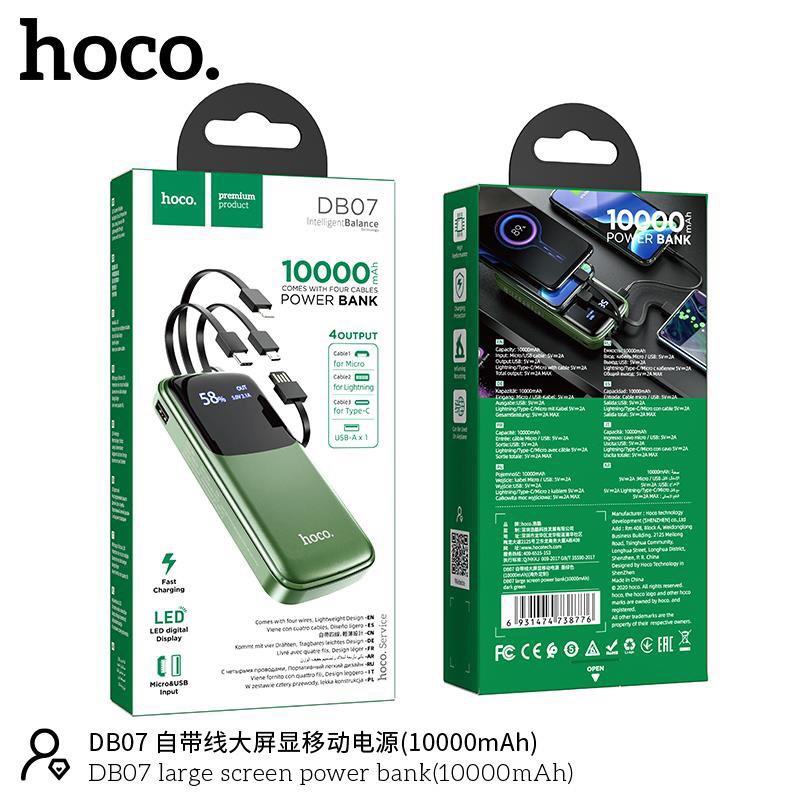Pin sạc dự phòng Hoco DB07 -10.000 mAh Tích Hợp 3 Cáp Sạc Micro/Lightning/Type-C Chính hãng hoco