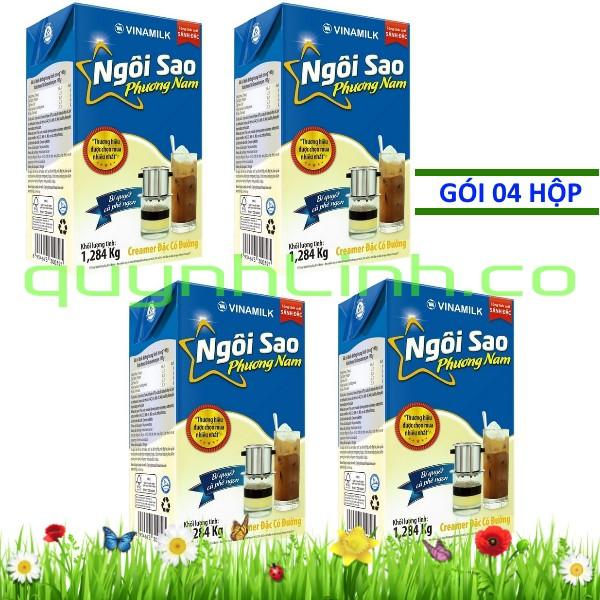 Bốn hộp Sữa đặc Ngôi Sao Phương Nam xanh biển 1284gram