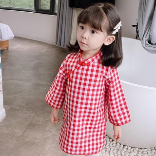 Đầm sườn xám dài tay họa tiết ca rô thời trang Trung Hoa xinh xắn dành cho bé gái