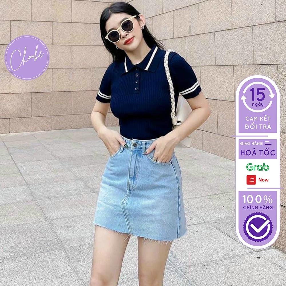 Chân váy jean Choobe cao cấp chất vải co giãn có giả quần bên trong phong cách V17