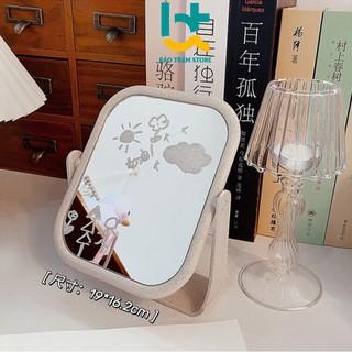 Gương mini để bàn trang điểm có hình tròn và hình chữ nhật có thể xoay 360 độ Hải Triều Sports