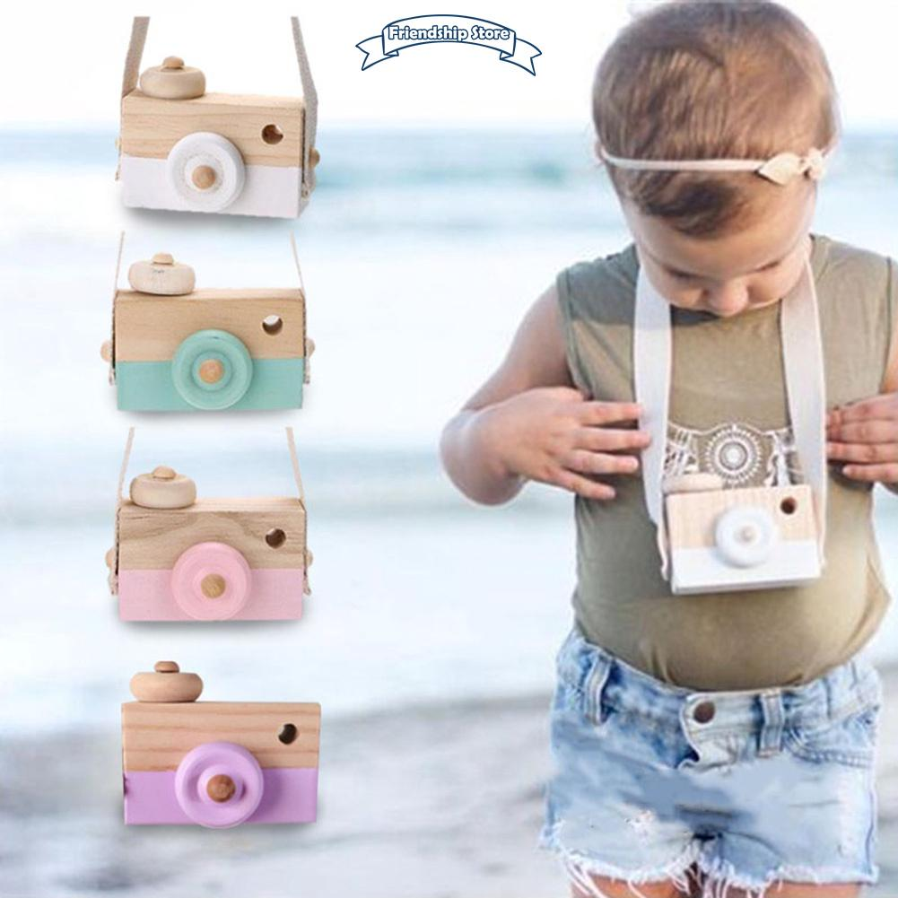 ◇FS Cute Cartoon Baby Kids Wooden Neck Camera Toy Photography Prop Decoration Children House Playing Toys