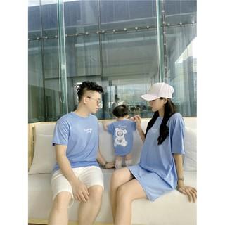 Áo gia đình Familylove - Đồng phục gia đình họa tiết chú gấu Summer Smile chất liệu cotton 100% mềm mịn siêu mát thumbnail