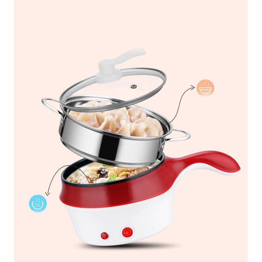 [  LOẠI 1 xịn sò] Nồi lẩu điện mini 2 tầng đa năng chống dính 18cm Tặng xửng hấp, Ca nấu mì nấu lẩu