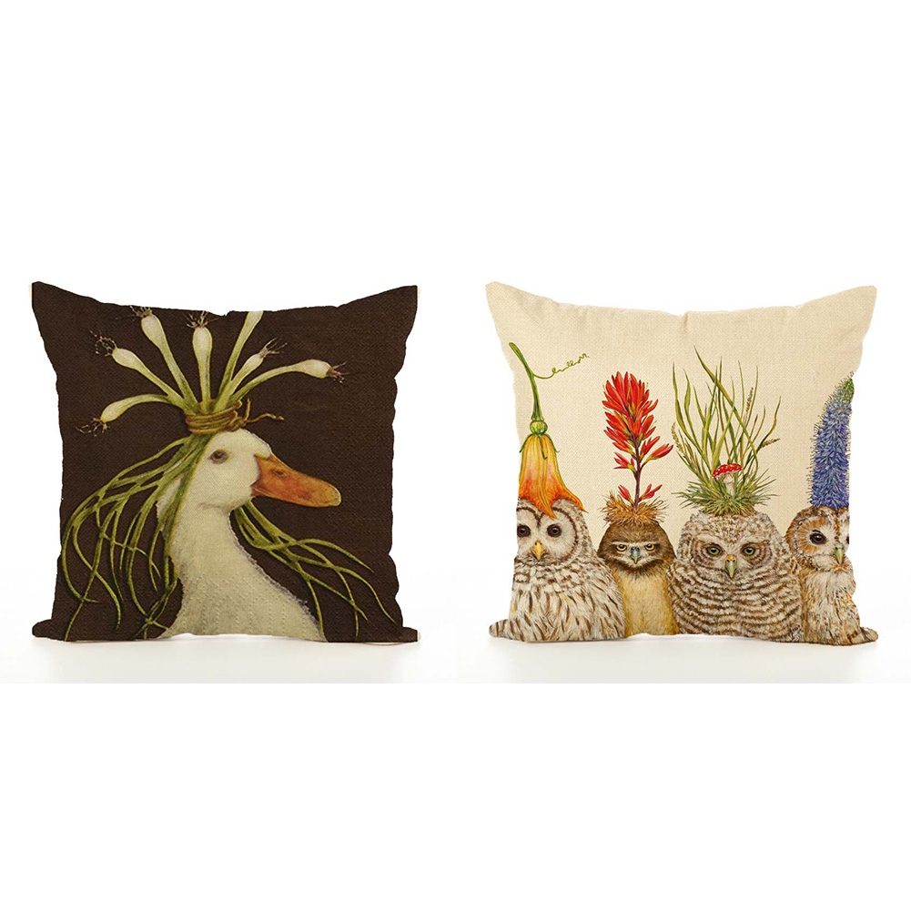 Nordic Style Decorations Printed Sofa Home Cartoon Animal Car Colorful Linen Cushion Cover