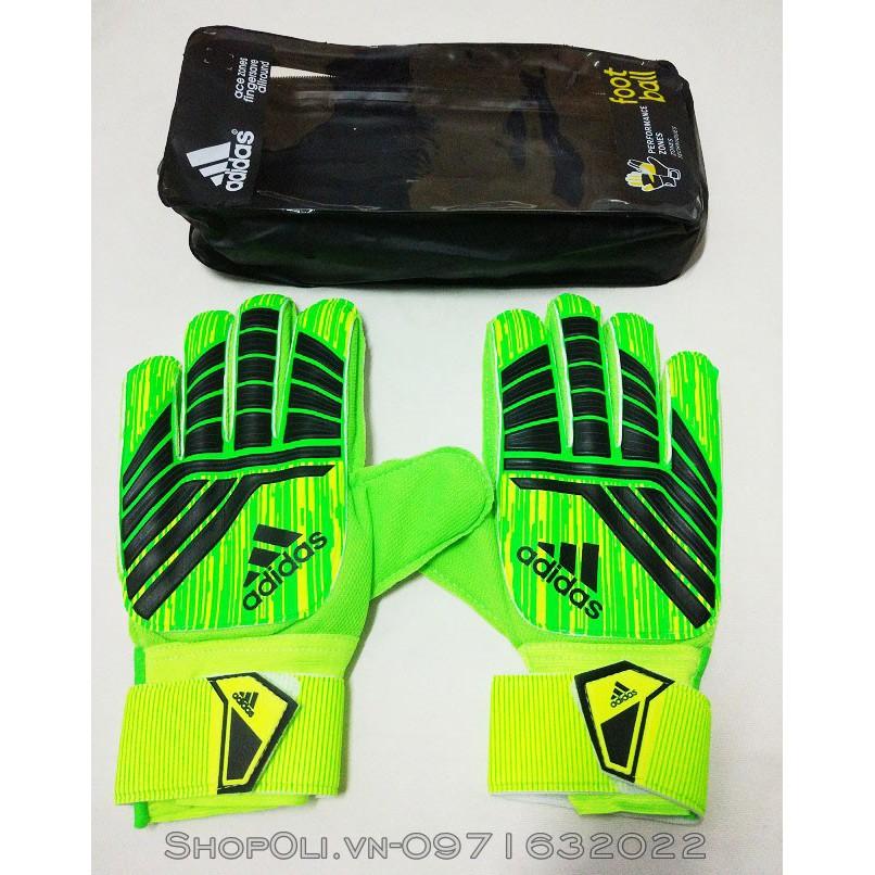 Găng tay thủ môn bóng đá xanh lá phối đen bảo vệ ngón tay