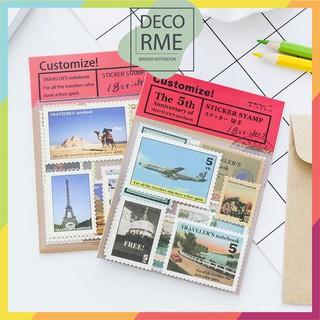 Set 18 sticker stamp tem dán TRAVELER S BOOK dụng cụ văn phòng phẩm DecorMe thumbnail
