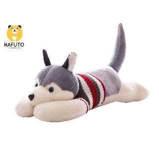 Gấu bông gối ôm chó Husky mặc áo len HAFUTO size 40cm