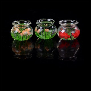 HEL❤ 1:12 Miniature Glass Fish Tank Transparent Aquarium Dollhouse Orname