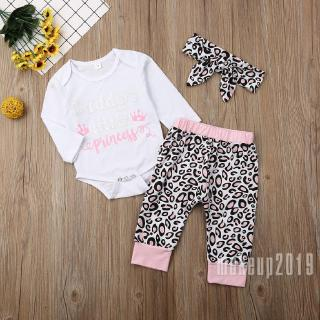 Mu♫-Infant Baby Boys Outfits Leopard Print Short Sleeve Romper + Pants + Headband Toddler Set Suits