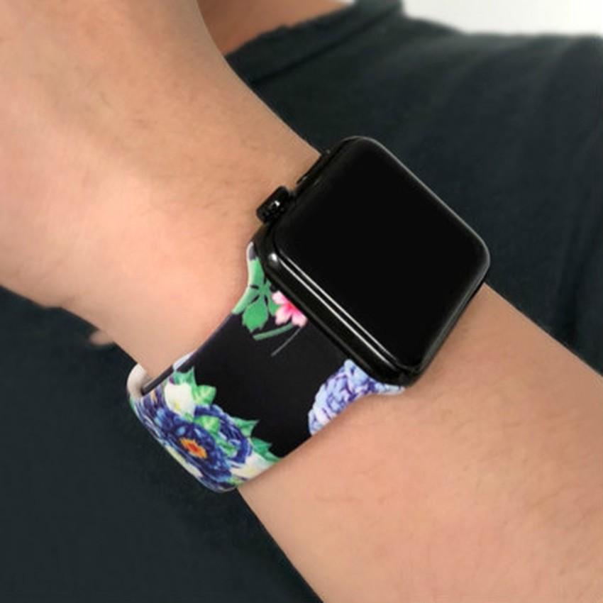 BR Dây đeo silicone thay thế họa tiết da báo độc đáo cho Apple Watch 38 40 42 44 MM series 1 2 3 4