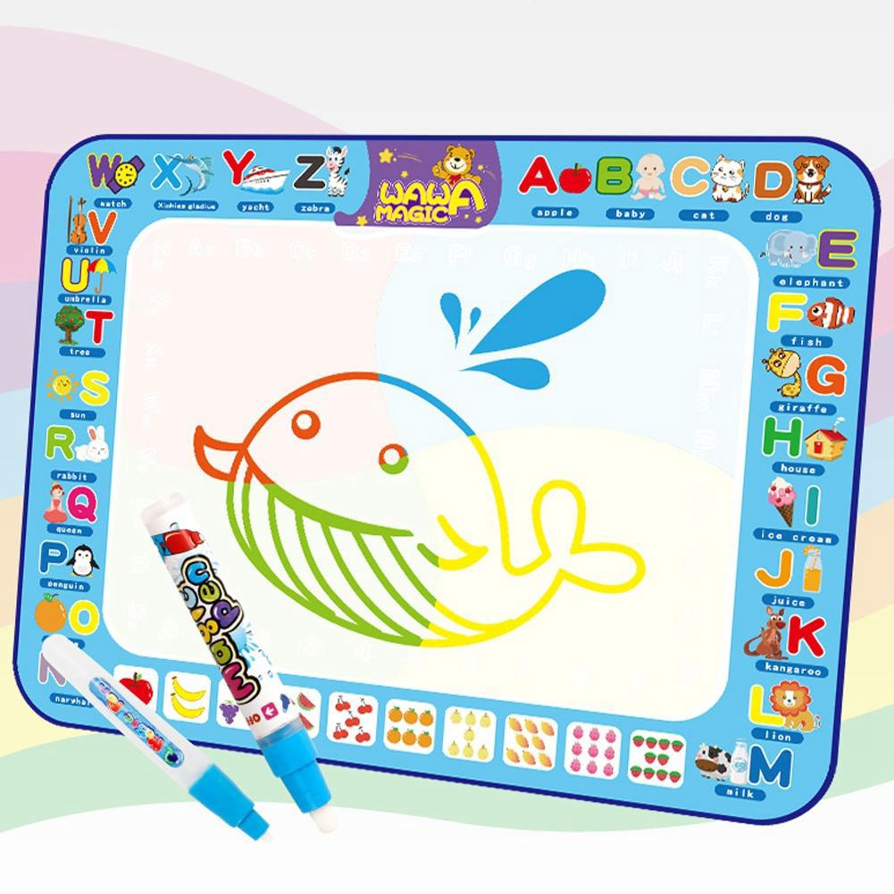 Havasshop 100 * 75cm Children's Cloth Drawing with Water Doodle Mat Magic Water Painting and Pen Kit