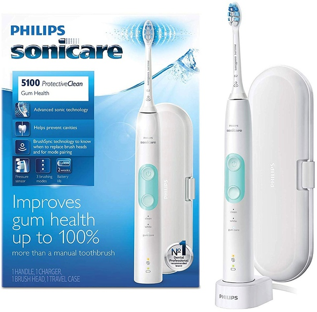 [Mã 66FMCGSALE hoàn 8% xu đơn 500K] Bàn chải điện Philips 4100, 5100 Philips Sonicare ProtectiveClean [Hàng Mỹ]