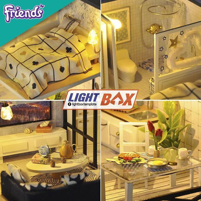 Nhà búp bê tự lắp ráp bằng gỗ - Tặng keo và dụng cụ (Mô hình lắp ráp gồm đèn...