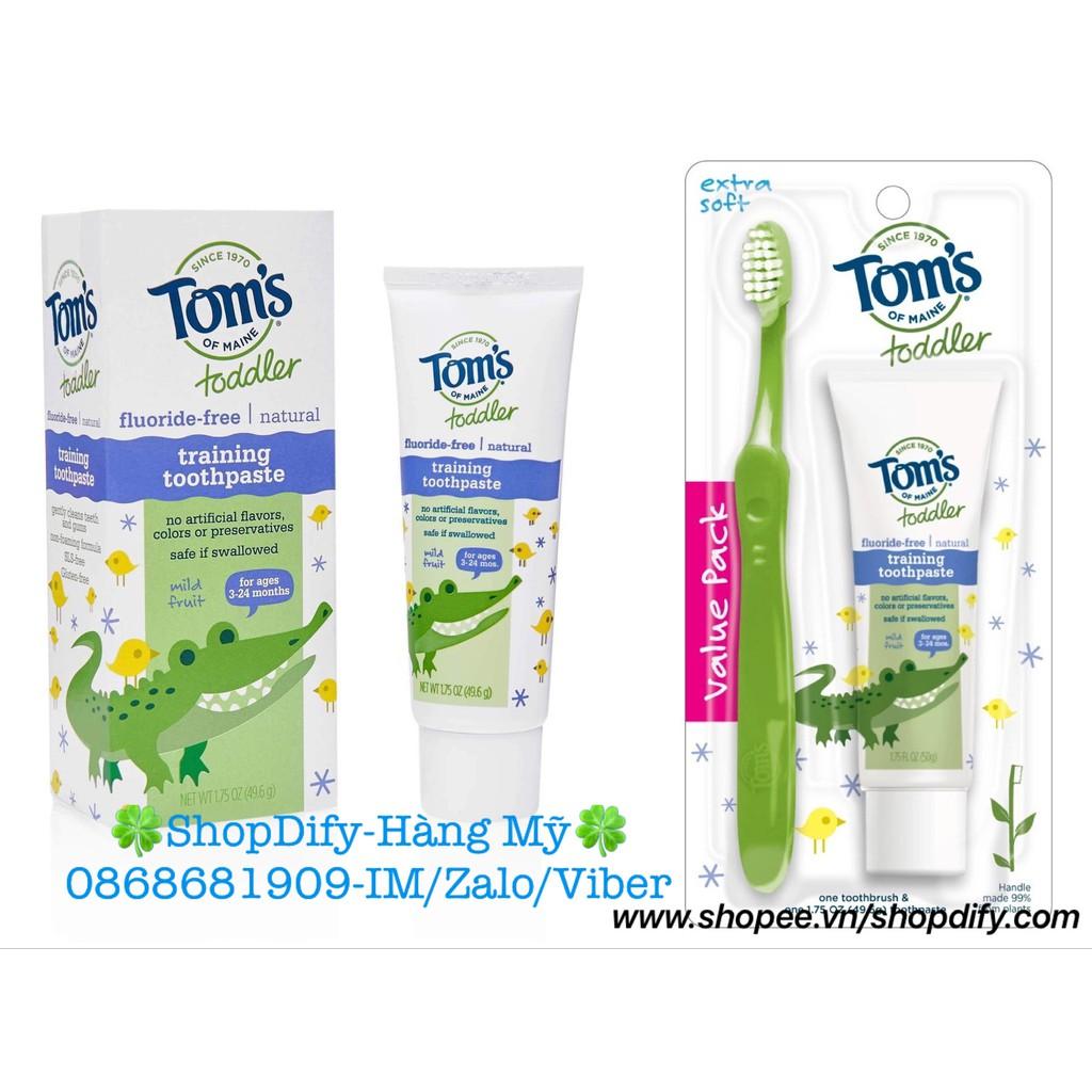 Kem đánh răng hữu cơ, nuốt được cho bé từ 3 tháng tuổi Tom's of Maine Toddler fluoride-free, sản xuất tại Mỹ 49,6g