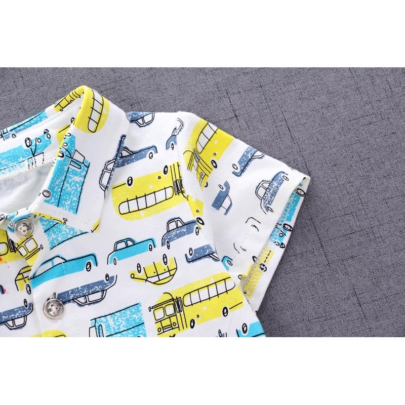 Two-piece denim shorts boys fashion and comfortable cotton polo cartoon car short-sleeved T-shirt + children