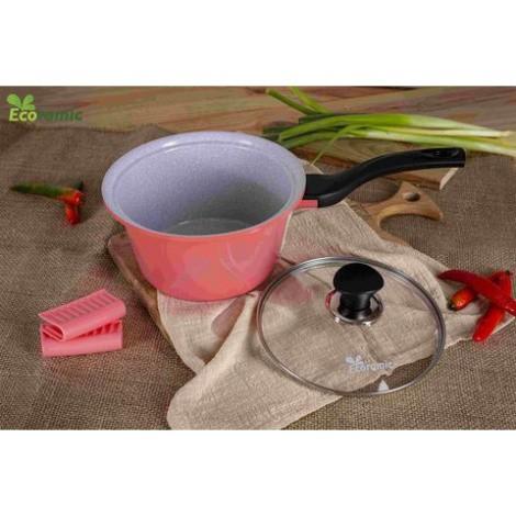 Quánh chống dính nấu cháo bột vân đá ceramic cao cấp ECORAMIC 18cm nắp kính dùng được bếp từ , hồng ngoại , gas