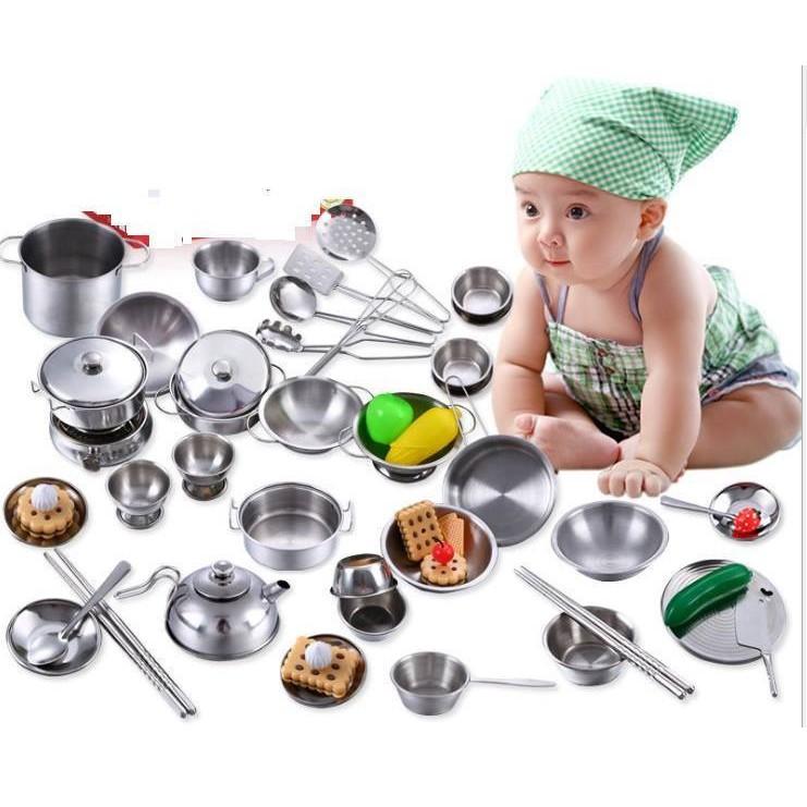 bộ đồ chơi nấu bếp bằng inox cho bé 32 món