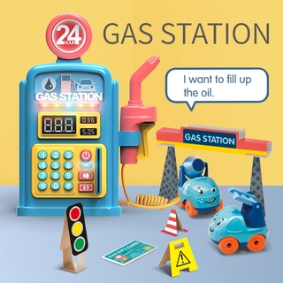 Simulation Gas Station Scene Model Toys Sound Light Music Kids Early Learning Education Toys Gifts