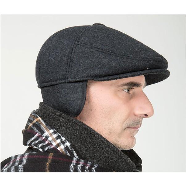 Mũ Beret Nam trung niên chất vải Nỉ Dạ cao cấp có che tai - quà tặng ỹ nghĩa