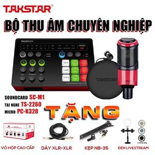 Combo mic thu âm, combo hát karaoke, combo mic hát livestream, sourdcard SC M1, micro PC K320