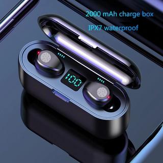 Tai nghe bluetooth V5.0 F9 TWS không dây nhét tai hiển thị LED với hộp sạc 2000mAh