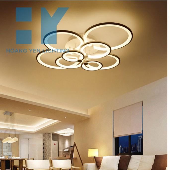 Đèn Ốp Trần - Đèn LED Ốp Trần - Mâm Đèn Ốp Trần 8 Vòng Tròn- Tặng Kèm điều khiển từ xa- Bảo Hành 24 Tháng