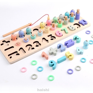 Educational For Toddler Kids Learning Magnetic Fishing Number Wooden Math Block Set
