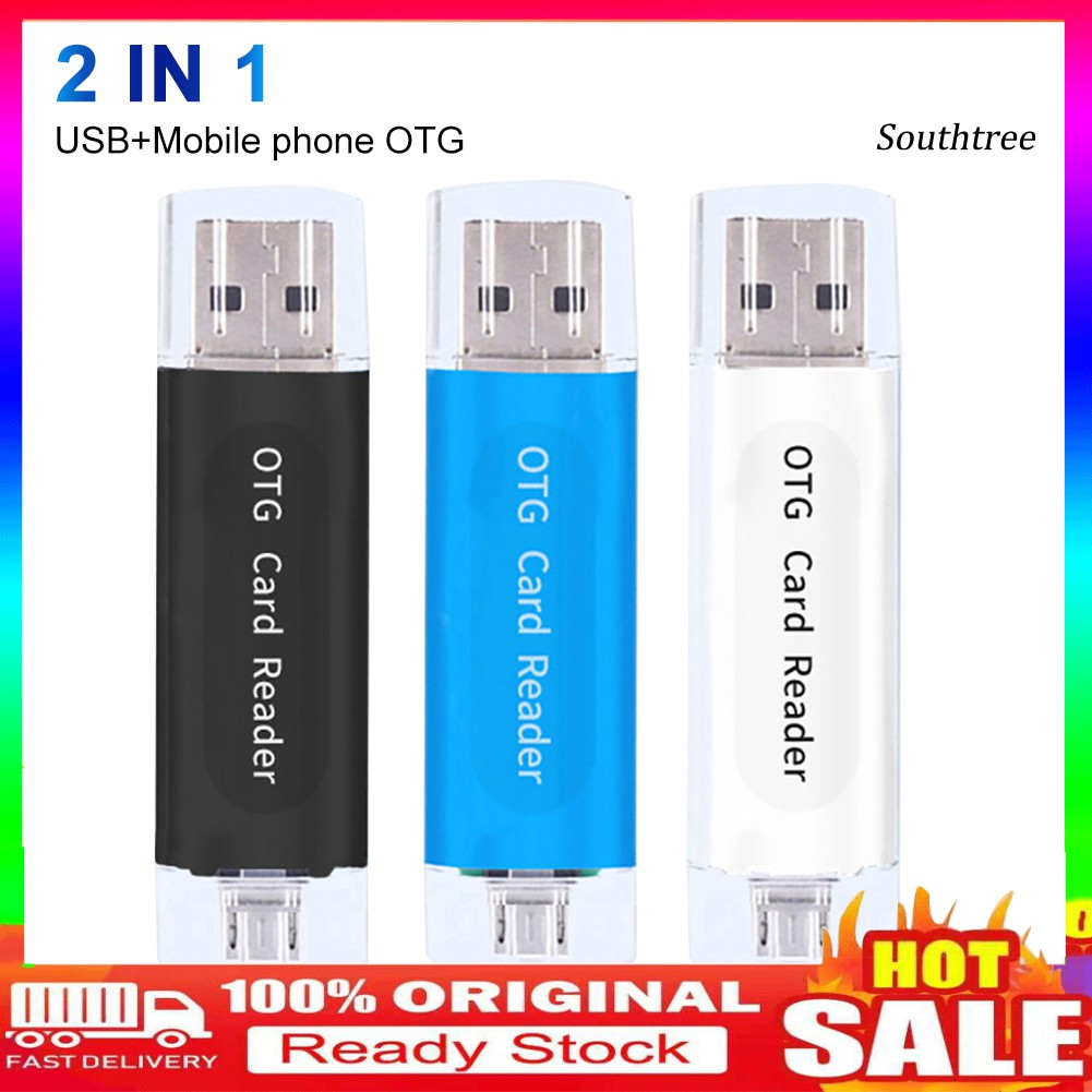 【Ready stock】2 in 1 USB 2.0 Phone OTG Dual TF SD Card Reader Adapter for PC Computer Android