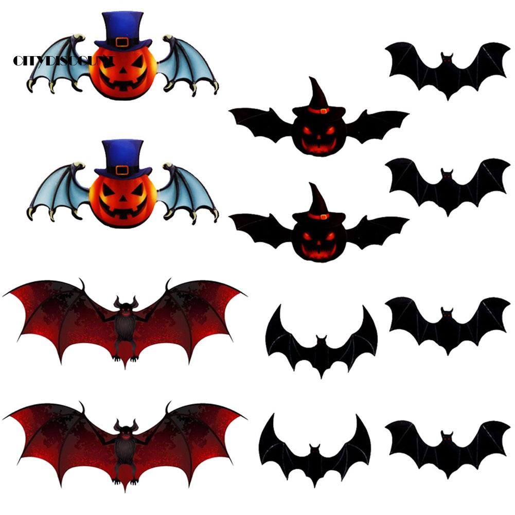 12Pcs Halloween 3D Pumpkin Bat Removable Wall Sticker Home Party Decal Decor