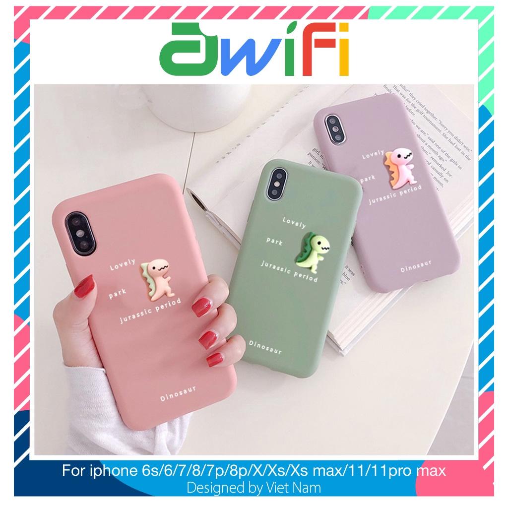 Ốp lưng iphone trơn 3D Khủng long bé 5/5s/6/6plus/6s/6splus/7/7plus/8/8plus/x/xr/xs/11/12/pro/max/plus/promax-Awifi B5-5