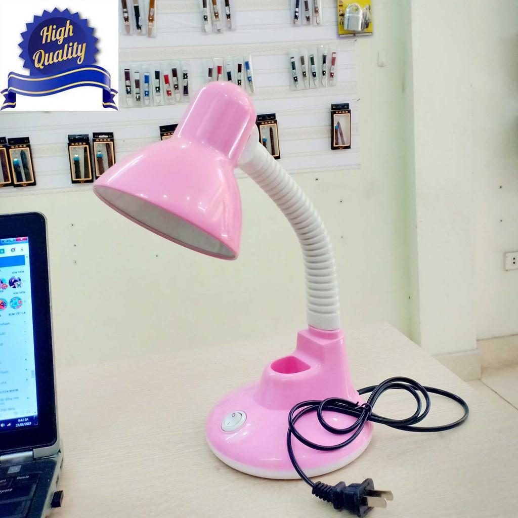 Đèn học để bàn có khay đựng bút CHỐNG CẬN màu hồng 2IN1