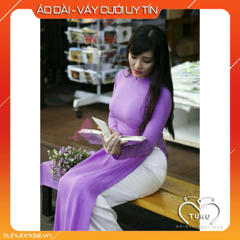Áo dài tím cà_Chaang_May sẵn áo dài truyền thống cố cao tay dài đẹp