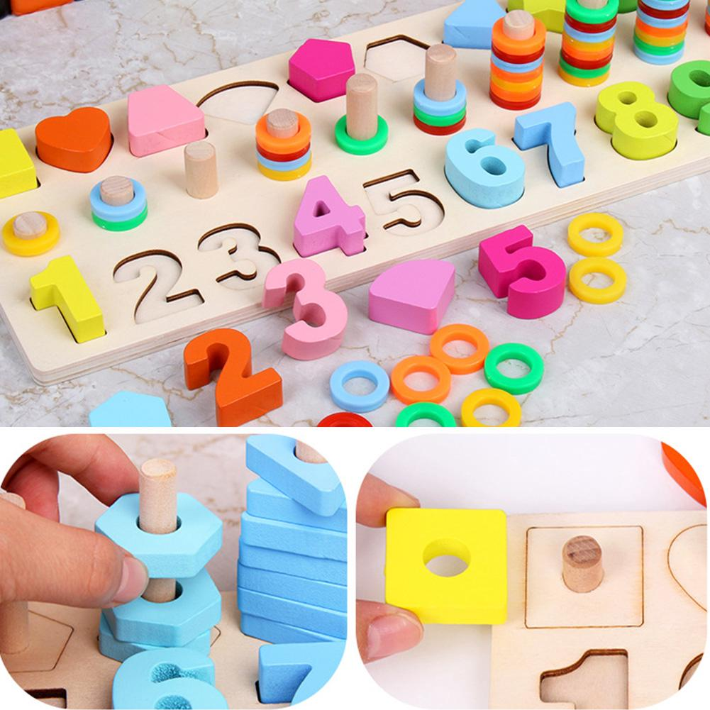 Wooden Gift Children Educational Math Toys Preschool Stacking Counting Board Set